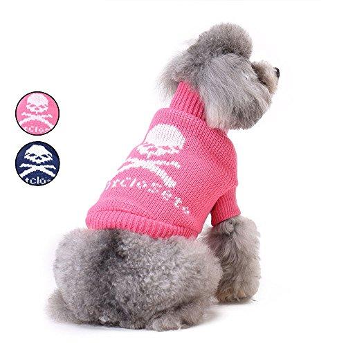 2 Patterns Owl Gestrickte Hundepullover, Rosa Urlaub Strickwaren Oberbekleidung Rollkragen Hundeweste Bekleidung für kleine Hunde von HongYH (Grau Argyle Rosa)