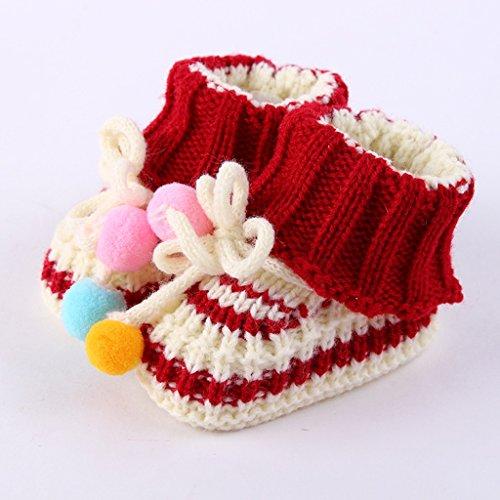Tong Heng Sheng Firm Toddler Newborn Baby Lovely Chaussures en Crochet en Tricot Chaussures à Main Boucle - 0-12 Mois