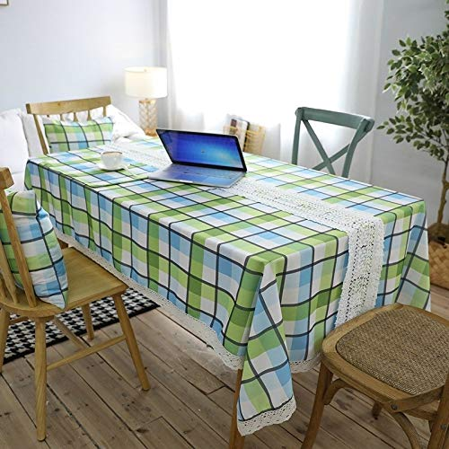 Runde Tisch Deck (Money dock Home wasserdicht grün Karierten Tischdecke quadratischen Tisch Garten Spitzentisch Kaffeetischdecke runde Tischdecke (Color : Green, Size : Double Deck 32 * 45))