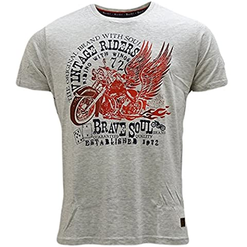 Brave Soul Vintage Riders T-Shirt - Outlaw Grey Marl