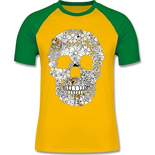Shirtracer Rockabilly - Totenkopf Blumen Skull Flowers - Herren Baseball Shirt Gelb/Grün