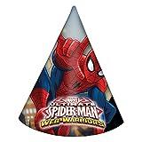 Procos 85166 - Cappellini Carta Ultimate Spider Man Web Warriors, 6 Pezzi, Rosso/Blu/Azzurro