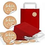 10 rote Kraftpapier SCHÖN DASS DU DA WARST Papiertüte Geschenktasche Henkel mit Boden 18 x 8 x 22 cm + 24 Aufkleber beige weiß Herz rot vintage Geschenk-Verpackung zum Be-Füllen