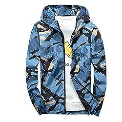 Xmiral Mäntel Herren Mit Kapuze Softshell Camouflage wasserdichte Winddichte dünne Jacke (XS,Blau)