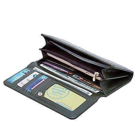 Matière en cuir véritable élégant Porte-monnaie simple Porte-monnaie portable Cartes multiples Machines à sous (vert)