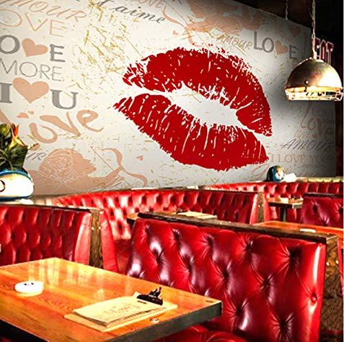 ekorationen Wandbilder Aufkleber Tapete Graffiti Buchstaben Rote Lippen Schlafzimmer Wohnzimmer Sofa Art Kinderküche (W) 250x(H) 175cm ()
