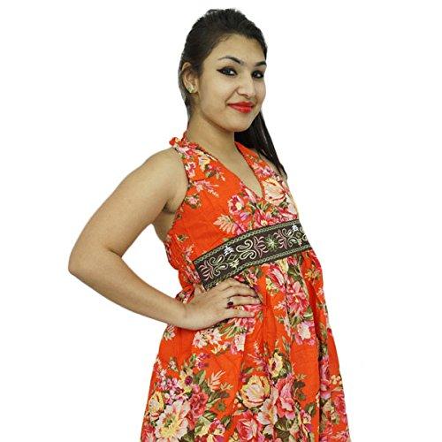 Strand Kleid Baumwollbeiläufiges Maxi Sommer Sundress Blumendruck Tunika Orange