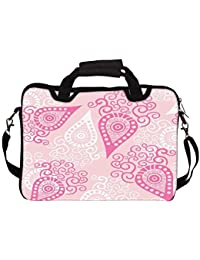 """Snoogg Pink Pattern 10"""" 10.5"""" 10.6"""" Inch Laptop Notebook SlipCase With Shoulder Strap Handle Sleeve Soft Case..."""