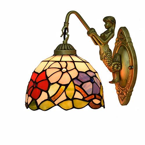 Litaotao 8 Zoll Vintage Tiffany Stil Wandlampe Glasmalerei Bad Spiegel Scheinwerfer Wohnzimmer Schlafzimmer Dekorative Wandleuchte, 110-220V, E27 -