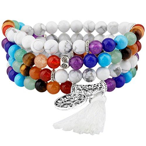 Shanxing 108 Perlen Edelstein Yoga Armband Schmuck Buddha Buddhistische Tibetische Gebetskette Mala Kette Halskette,7 Chakra & Weiße Howlite Türkis