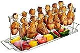 G.a HOMEFAVOR Griglia da Barbecue, BBQ Supporto per 14 Cosce in Acciaio Inox per Cosce e ali di Pollo con Gocciolatoio