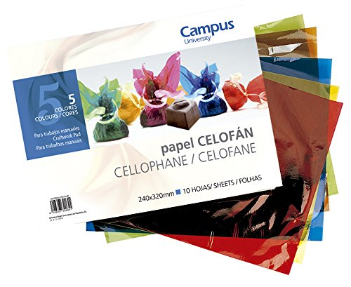 10x Bloc Papel Celofán Campus University para Manualidades 5 Colores 240x320mm