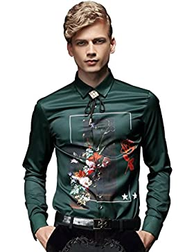 FANZHUAN Camicie a Fiori Uomo Verde Eleganti Maniche Lunghe Ricamo Stampa Slim Fit Moda Casual