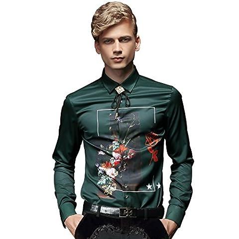 FANZHUAN Grüne Hemden für Herren Langarmhemd Aufdruck Mode Slim Fit Freizeit