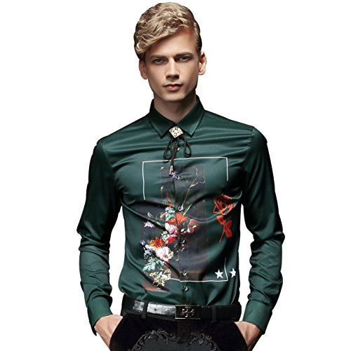 FANZHUAN Camicia Fantasia Uomo Maniche Lunghe Verde Slim Wrinkle Free Moda Casual