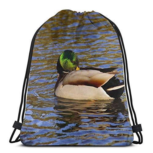 Cap pillow Duck Bird Swim Water Splashes Custom Drawstring Shoulder Bags Gym Bag Travel Backpack Lightweight Gym for Man Women 16.9