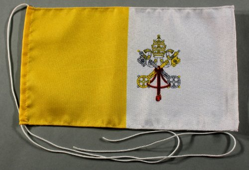 Vatikan Papst 15x25 cm Tischflagge in Profi - Qualität Tischfahne Autoflagge Bootsflagge Motorradflagge Mopedflagge
