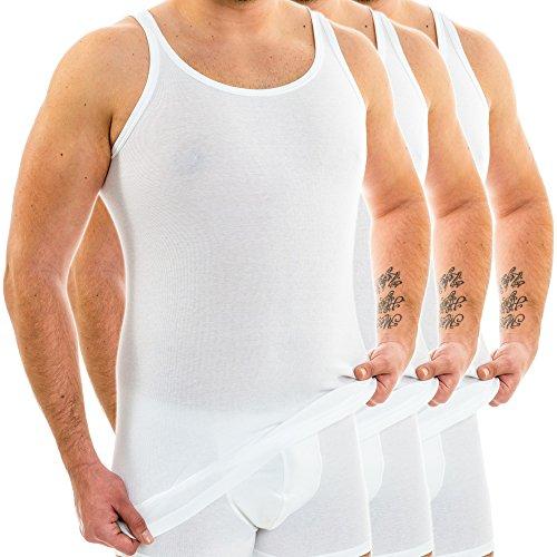 HERMKO 3007 3er Pack extralanges Herren Unterhemd (+10 cm) Tank Top aus 100% EU Baumwolle, Farbe:weiß, Größe:D 6 = EU L