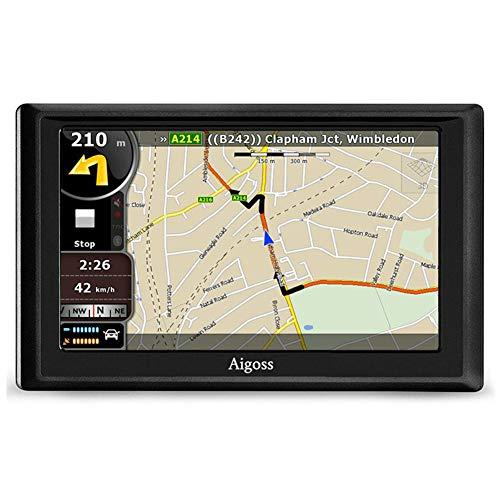 Aigoss Navigation für Auto, 5 Zoll Touchscreen 4GB GPS Navi Navigationsgerät mit POI Sprachführung Fahrspurassistent LKW PKW KFZ mit Lebenszeit Kostenlose Kartenupdates 2019 Europa Karten