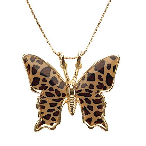 Collier Pendentif Papillon - Bijoux en Argent fin Plaqué Or et Fimo fait main, Chaine en Or Laminé 42cm Leopard