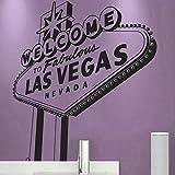 """vinilo decorativo """"Rótulos de Las Vegas"""". Color negro. Medidas: 60x80cm"""