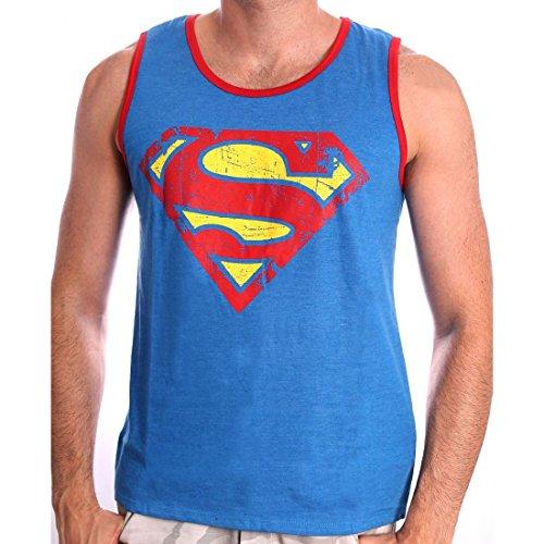 Superman DC Comics Herren Tank Top - Vintage Logo (Grau) (S-XL) (XL) (Riddler-jacke)