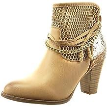 Sopily - Zapatillas de Moda Botines Tobillo mujer fishnet cadena cuerda Talón Tacón ancho alto 8 CM - Camel