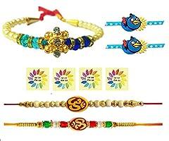 Idea Regalo - Set di 5 braccialetti Rakhi per Raksha Bandhana, per tutta la famiglia