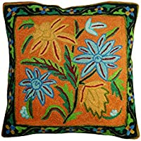 Mogul Interior Boho Style Pillow Sham Exquisite Stereoscopic Embroidered Cotton Pillow Cover, Sofa Cushion Cover 16X16 (Orange-1)