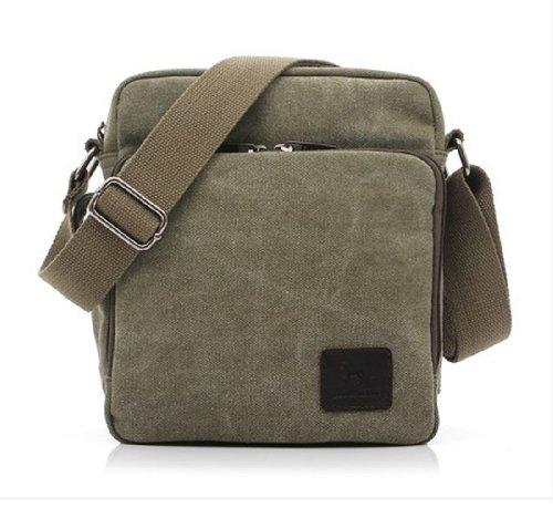 Tonwhar ® Canvas-Schultertasche, Messenger Bag, Aktentasche mit vielen Taschen Grün - Grün