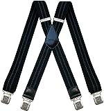 Decalen Hosenträger für Herren breit extra starken 4 cm mit 4er Clips X-Form lange für Männer und Damen Hose (Schwarz mit Grau)