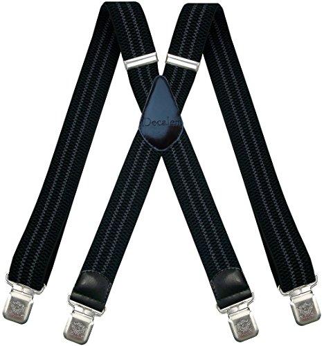 Decalen Hosenträger für Herren breit extra starken 4 cm mit 4er Clips X-Form lange für Männer und Damen Hose (Schwarz mit Grau) (Jungen Anzüge Setzt)