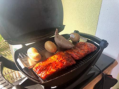 51judpqW3JL - Shanisha Kartoffelhalter,Grillguthalter,Männergeschenk,Ideal für Gasgrill Kugelgrill Holzkohlegrill usw, Leicht zu verwenden deswegen ideal für Camping,Thermometer inc,Garten Grillzubehör,Potato