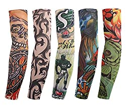 Aadishwar Creations Men's Fancy Dress Costume Fake Arm Art Tattoo Sleeves (HGM121_Black _Large)