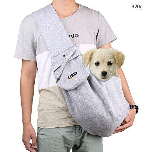 aokur Hundetasche Single-Schulter Sling Bag Haustier Hund Katze Vlies Tasche Rucksack Schultertasche Transporttasche Für Yorkie, Chihuahua Labrador etc (Grey 320g)