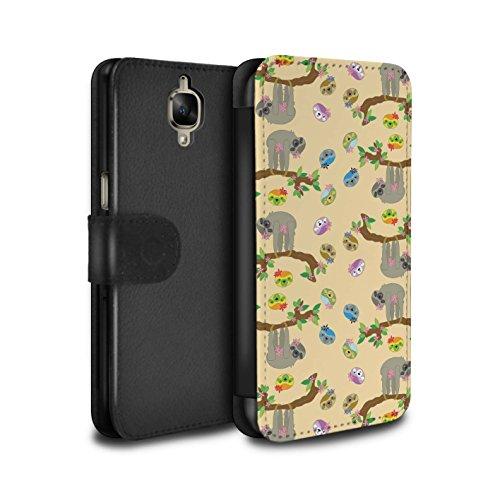 Stuff4® PU-Leder Hülle/Case/Tasche/Cover für OnePlus 3/3T / Süß Karikatur Muster/Wildes Tier Faultier Kollektion -