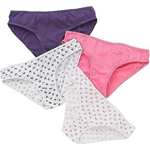 Just Essentials Ladies 4 Pack Cotton Floral Print Bikini Mini Briefs - Purple/Pink - Size 20