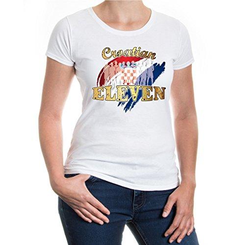 buXsbaum® Girlie T-Shirt Croatian Eleven White-z-direct