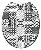 PEGANE Abattants WC Trendy Line Bois déco Tiles Carreaux de Ciment Mat - Dim : 37,5 X 45,5 cm
