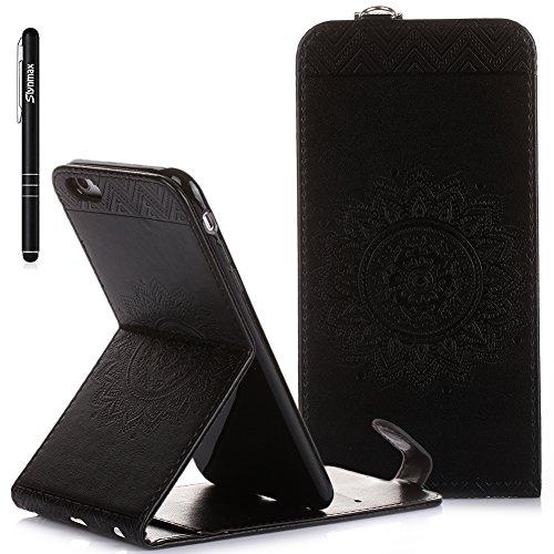 iPhone 6s Plus Custodia Flip,iPhone 6s Plus Custodia in Pelle,Slynmax Stampato Copertura di Ccuoio Folio Cover in PU Dipinto Sintetica Ecopelle Guscio Wallet Case per Apple iPhone 6 Plus /6S Plus Prot Nero