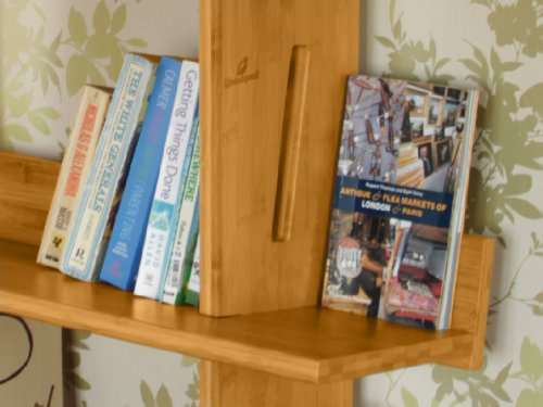 Bargain Tall Bookcase, 5 Tier Bookshelf, Bamboo Shelving Units. Made of Bamboo on Line