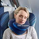 BCOZZY Cuscino da viaggio per il collo con supporto per il mento - Sostiene la Testa, il Collo e il Mento nel Massimo Comfort in Posizione di Seduta. Prodotto Brevettato. Adulto, BLU MARINO