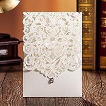 ColorMax verticale Avorio stile classico biglietti di inviti per matrimonio con strass Hollow Flora Favors (Confezione da