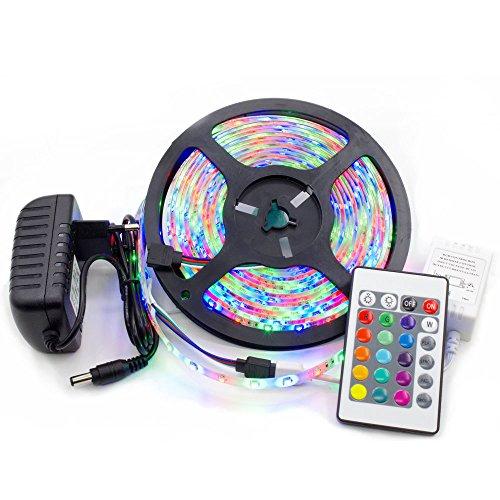 Preisvergleich Produktbild Vansuky LED Strip Licht Streifen 5m Band Leiste mit 300 LEDs (SMD 3528) inkl. wasserdicht IP65, einschließen netzteil & fernbedienung,  Bunte Fernbedienung RGB