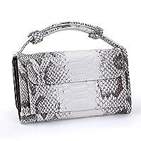 KULERB Shoulder Bag Fashion Snakeskin HandBag for Women Crossbody Bag Ladies Simple Modern Classic Design Totes with Chain (Silver)