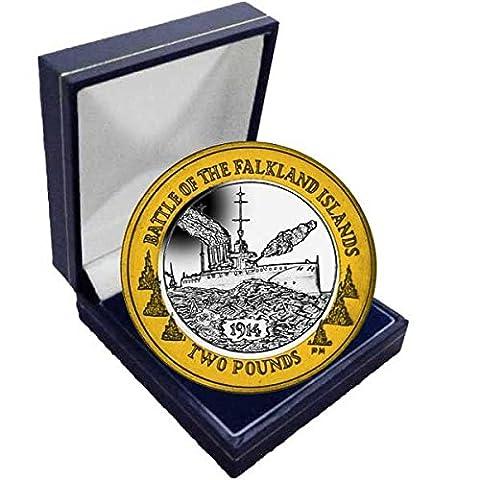 Îles Falkland 2014Centenaire de la Bataille de Falkland £2pièces dans une boîte