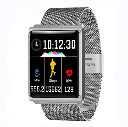 YZ-YUAN Wasserdichter Fitness Tracker,Touchscreen Aktivitätstracker Höhenmesser Herzfrequenzsensor,Blutdruckmessgerät Armband Kalorienzähler Sportuhr Pedometer Smart Armband,Silver