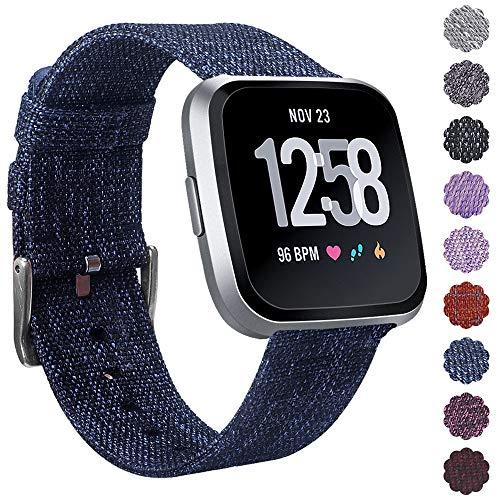 KIMILARArmbänder Kompatibel mit Fitbit Versa Armband Stoff, Schnellspanner Nylon Ersatzband Armbänder mit Edelstahl Handgelenk Verschluss für Fitbit Versa Smartwatch - Astro blau