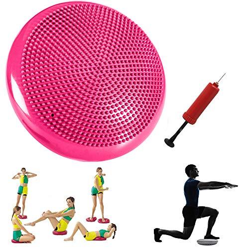 Xemz, Disco per Equilibrio di stabilità con Pompa a Mano, Cuscino Gonfiabile per Esercizi, Sedia Gonfiabile per Bambini, Supporto Lombare, Supporto per Sedia da Ufficio in Classe, Rosa