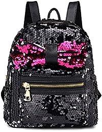 a2caa04ae44fb Lamdoo Mini Glitzer Pailletten Rucksack Schultertasche Cute Bow Travel  Geldbeutel für Mädchen Frauen Schwarz